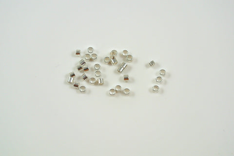 Crimp Tube 2x2mm Silver Electroplated 50 Pieces