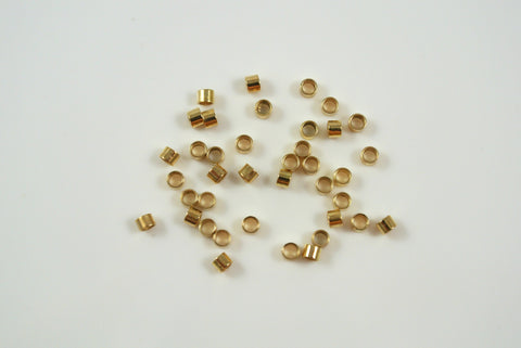 Crimp Tube 2x2mm Gold Electroplated 50 Pieces
