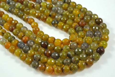 Fire Crackle Agate Olive Round Faceted 10mm