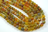 Fire Crackle Agate Olive Round Faceted 8mm