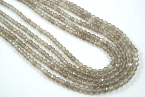 Agate Gray Round Faceted 4mm