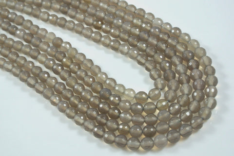 Agate Gray Round Faceted 6mm