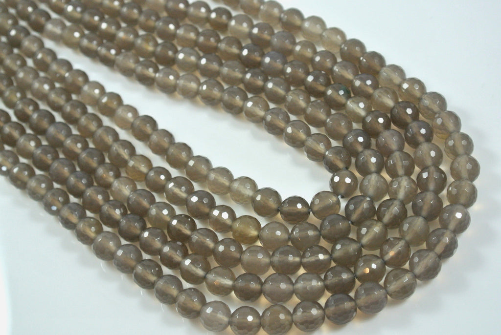 Agate Gray Round Faceted 8mm