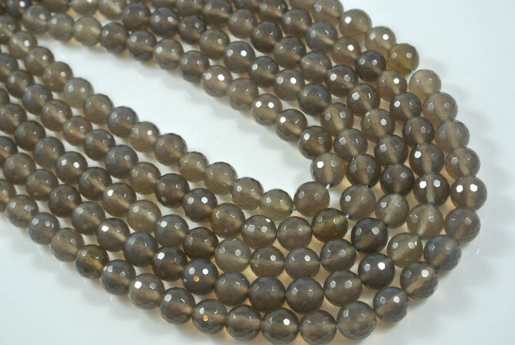 Agate Gray Round Faceted 10mm
