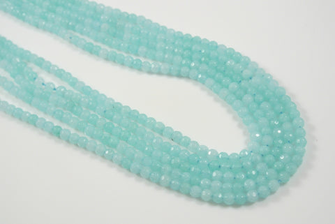 Jade Light Aqua Round Faceted 4mm
