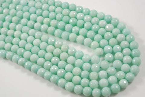 Jade Light Aqua Round Faceted 8mm