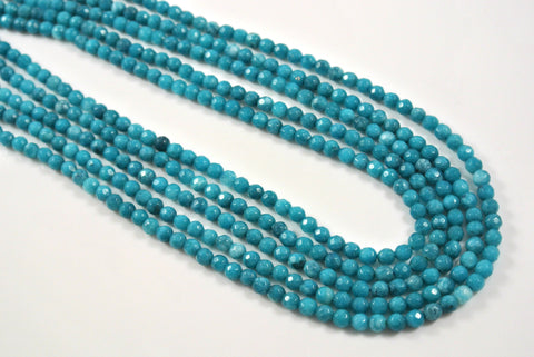 Jade Teal Round Faceted 4mm