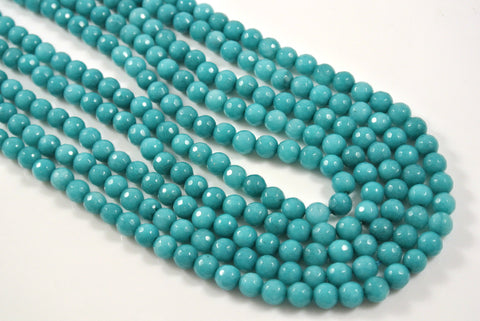 Jade Teal Round Faceted 6mm