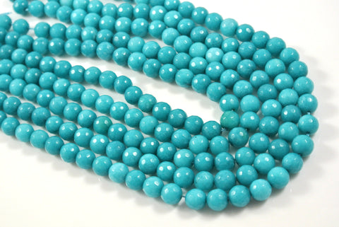 Jade Teal Round Faceted 8mm