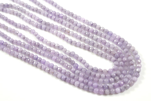 Jade Light Lavender Round Faceted 4mm