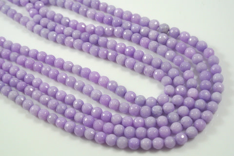 Jade Light Lavender Round Faceted 6mm