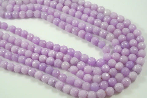 Jade Light Lavender Round Faceted 8mm