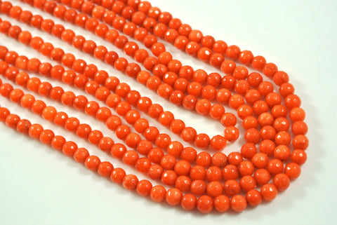 Jade Autumn Orange Round Faceted 6mm
