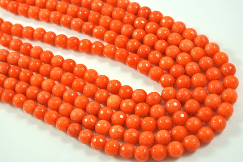 Jade Autumn Orange Round Faceted 8mm
