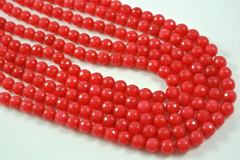 Jade Cinnamon Red Round Faceted 8mm