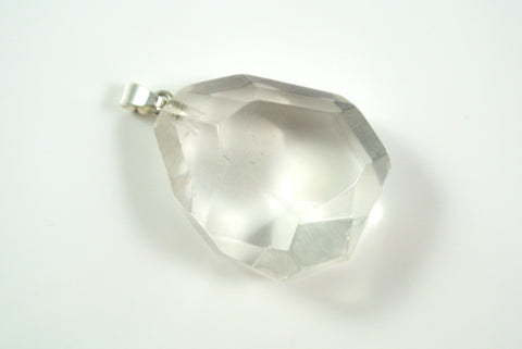 Quartz Clear Free Form Faceted Pendant 29x34mm