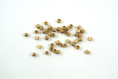 Crimp Tube 2x2mm Satin Gold Electroplated 50 Pieces