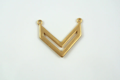 Chevron Pendant Link 20x22mm Satin Gold Electroplated 1 Piece
