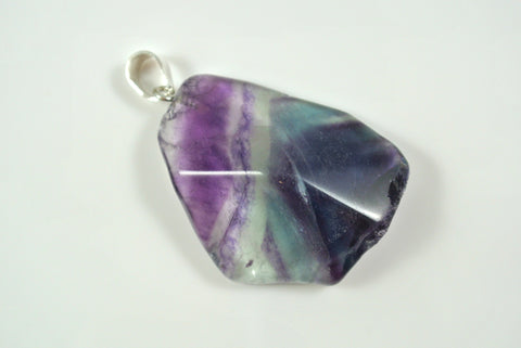 Fluorite Free Form Faceted Pendant 30x36mm