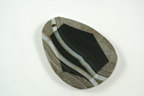 Black Sardonyx Free Form Pendant 37x50mm