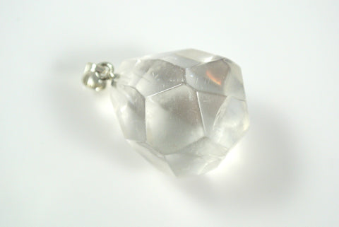 Quartz Clear Free Form Faceted Pendant 25x27mm