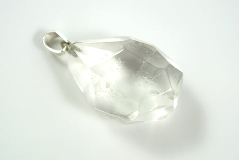 Quartz Clear Free Form Faceted Pendant 23x31mm
