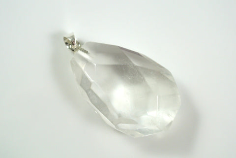 Quartz Clear Free Form Faceted Pendant 26x37mm