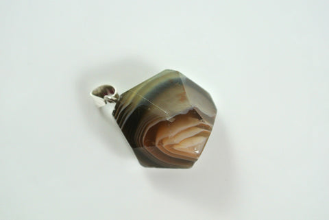 Botswana Agate Free Form Faceted Pendant 22x22mm