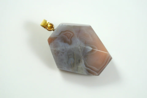 Botswana Agate Free Form Faceted Pendant 26x31mm