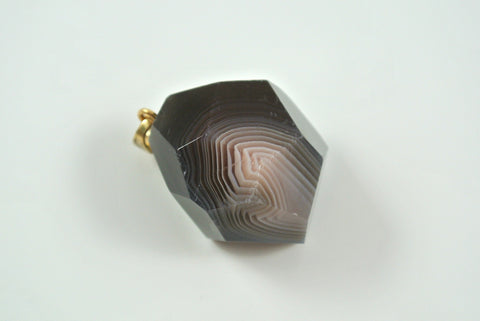 Botswana Agate Free Form Faceted Pendant 25x29mm