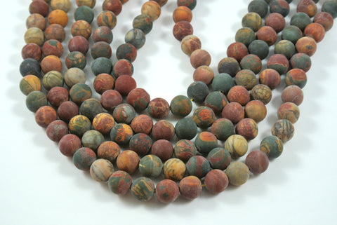 Matte Red Creek Jasper Round 10mm