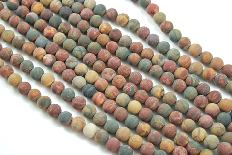 Matte Red Creek Jasper Round 8mm
