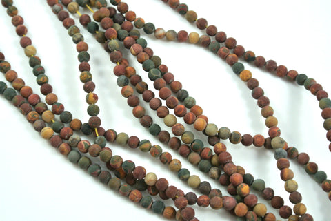 Matte Red Creek Jasper Round 4mm