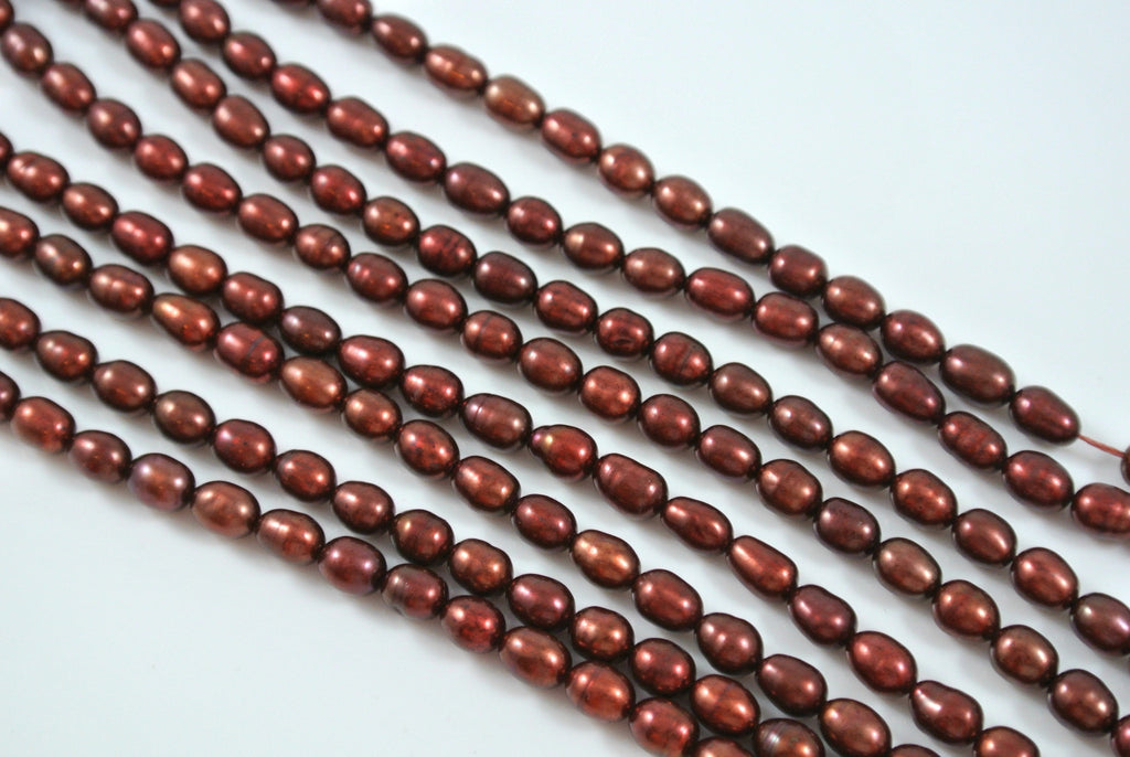 Freshwater Pearl Dark Cranberry Rice 4.5-5mm