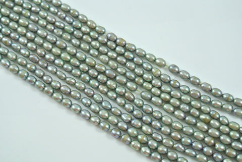 Freshwater Pearl Silver Green Rice 4-5mm