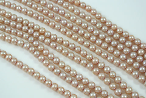 Freshwater Pearl Pink Champagne Semi Round 5-6mm