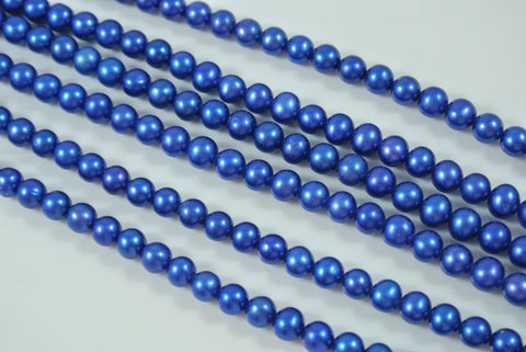 Freshwater Pearl Cobalt Blue Semi Round 5-6mm