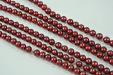 Freshwater Pearl Cranberry Red Semi Round 5-6mm