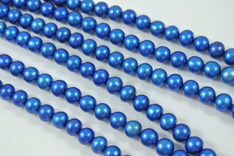 Freshwater Pearl Cobalt Blue Semi Round 7.5-8mm