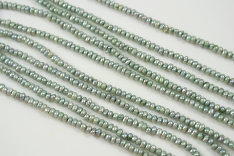 Freshwater Pearl Light Sage Green Tiny Button 1.5-2mm
