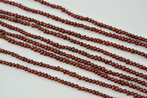 Freshwater Pearl Cranberry Red Tiny Potato 1.5-2mm