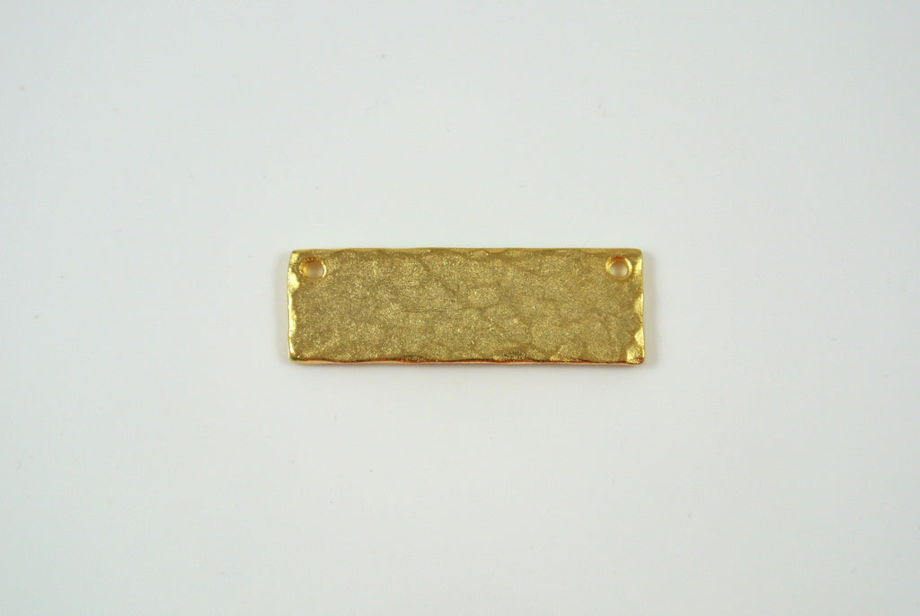Bar Link Textured Rectangle Satin Gold Electroplated 9x28mm 1 Piece