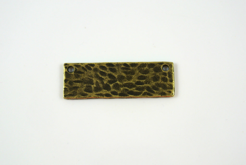 Bar Link Textured Rectangle Antique Brass Electroplated 9x28mm 1 Piece