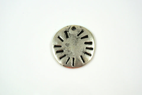 Sun Disk Drop Silver Electroplated 21mm 1 Piece
