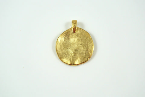 Disk Texture Pendant Satin Gold Electroplated 19mm 1 Piece
