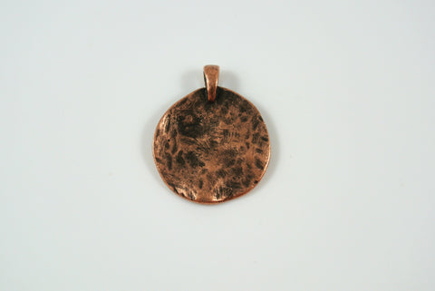 Disk Texture Pendant Antique Copper Electroplated 19mm 1 Piece