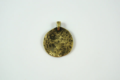 Disk Texture Pendant Antique Brass Electroplated 19mm 1 Piece