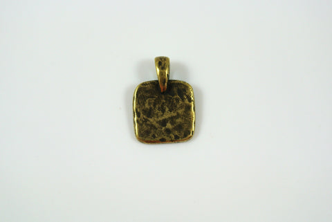 Square Flat Texture Pendant Antique Brass Electroplated 12mm 1 Piece