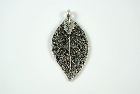 Leaf Realistic Texture Pendant Silver Electroplated 20x35mm 1 Piece