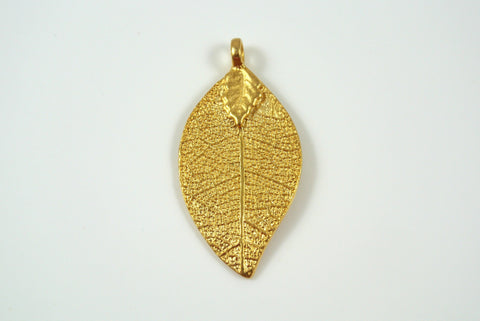 Leaf Realistic Texture Pendant Satin Gold Electroplated 20x35mm 1 Piece